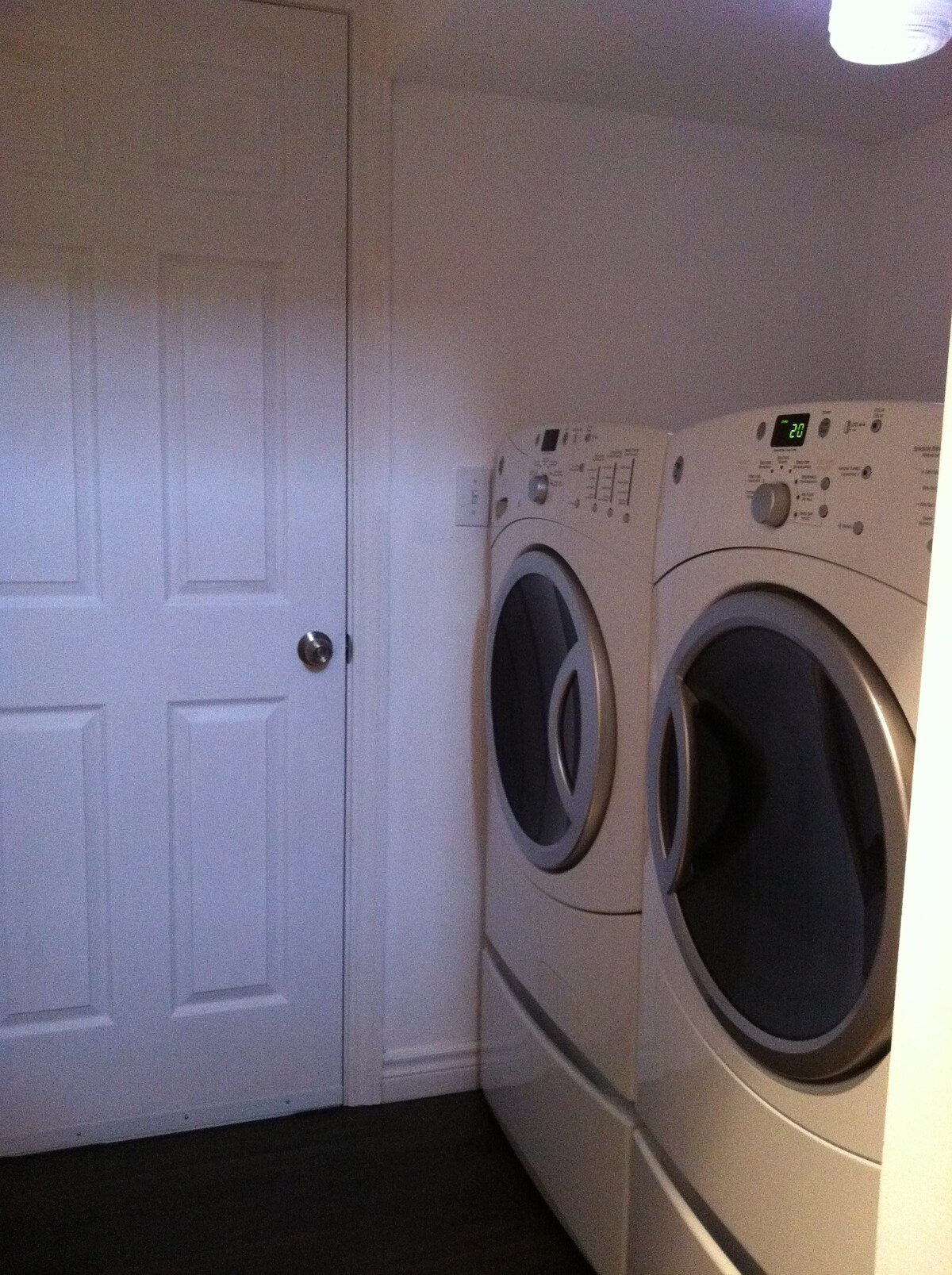 "The door to your ""home away from home"".  Use the washer and dryer to clean those grubby travel clothes"