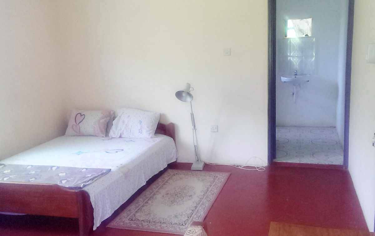 Bed with access to private toilet and bathroom