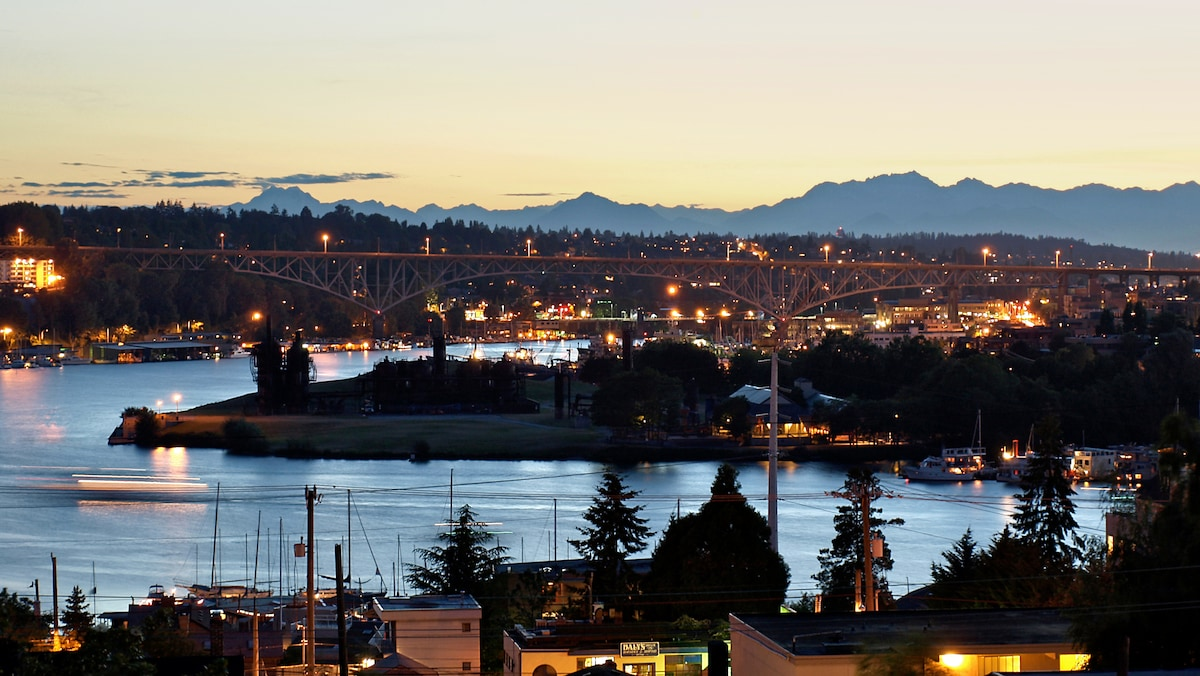 Night view of Lake Union, Gas Works Park, and the Olympic Mountains