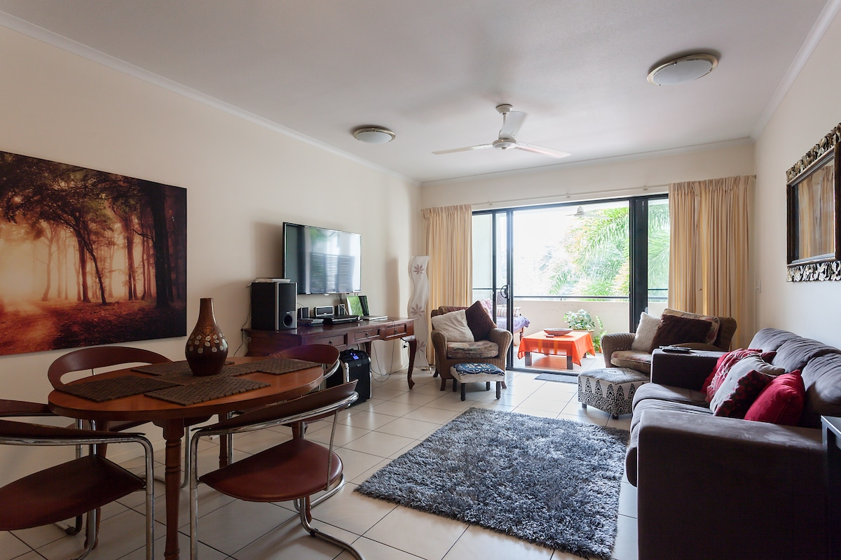 The living area of the spacious 3 bedroom apartment your room is located in