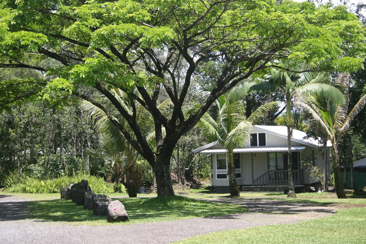Kipuka'ohia Cottage nestled in a small forest