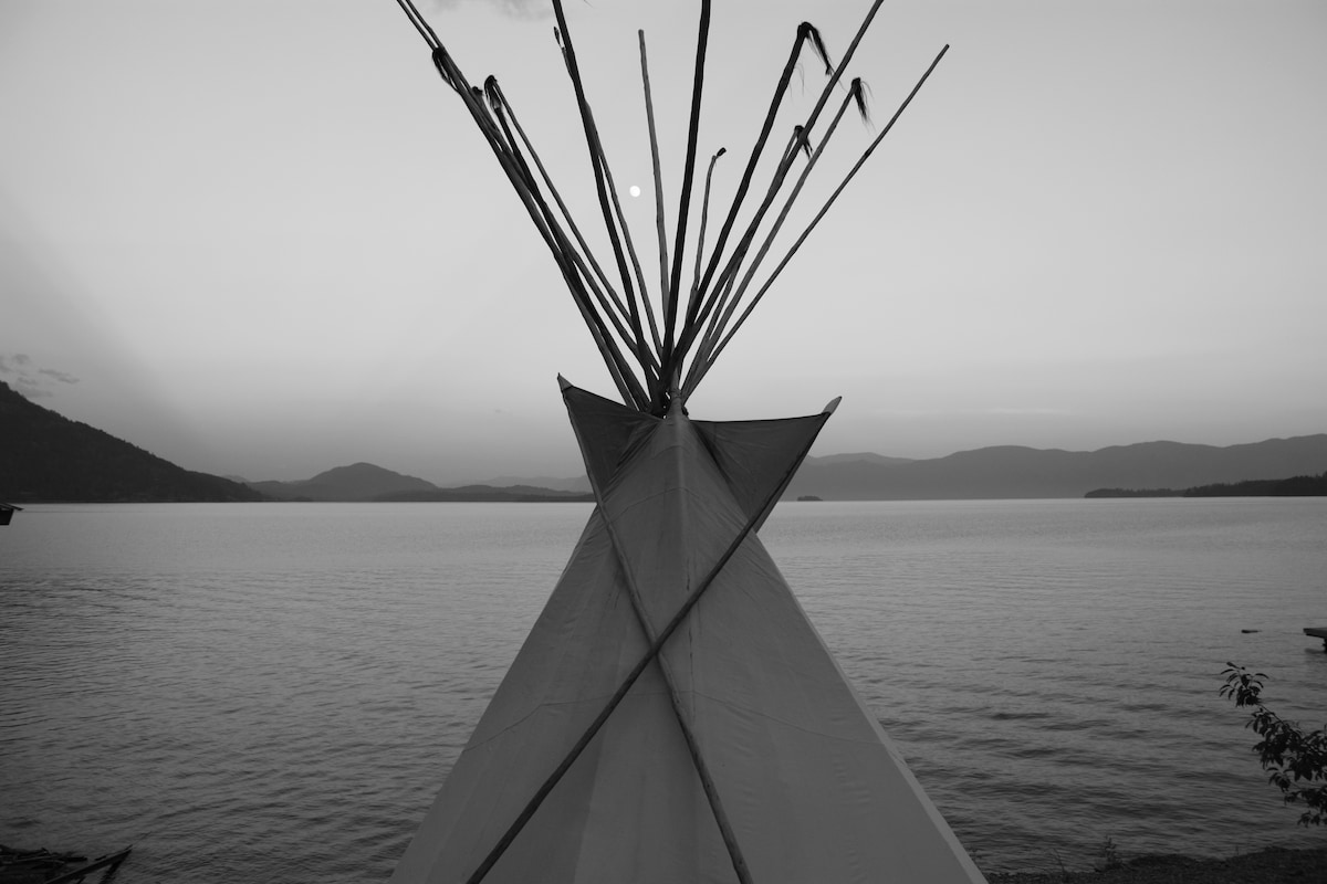 Tipi on private beach