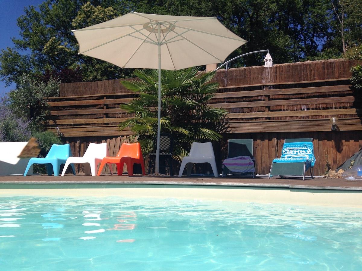 Chalet cosy et calme + piscine