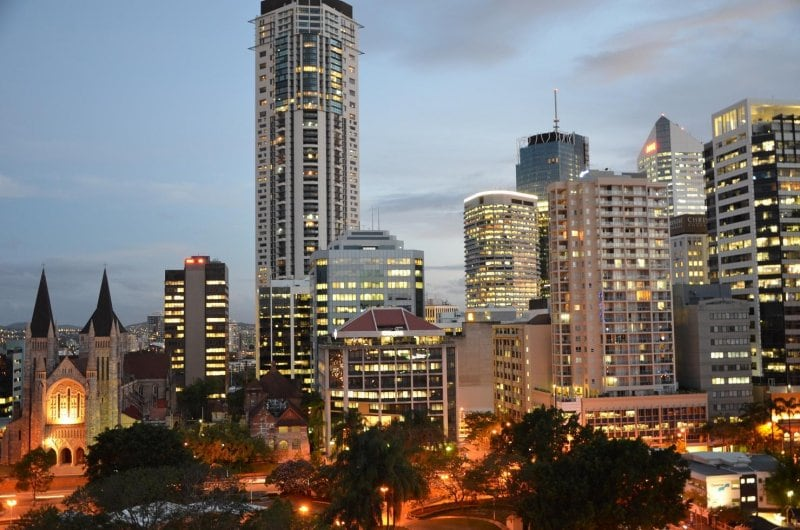 Brisbane at dusk from apartment