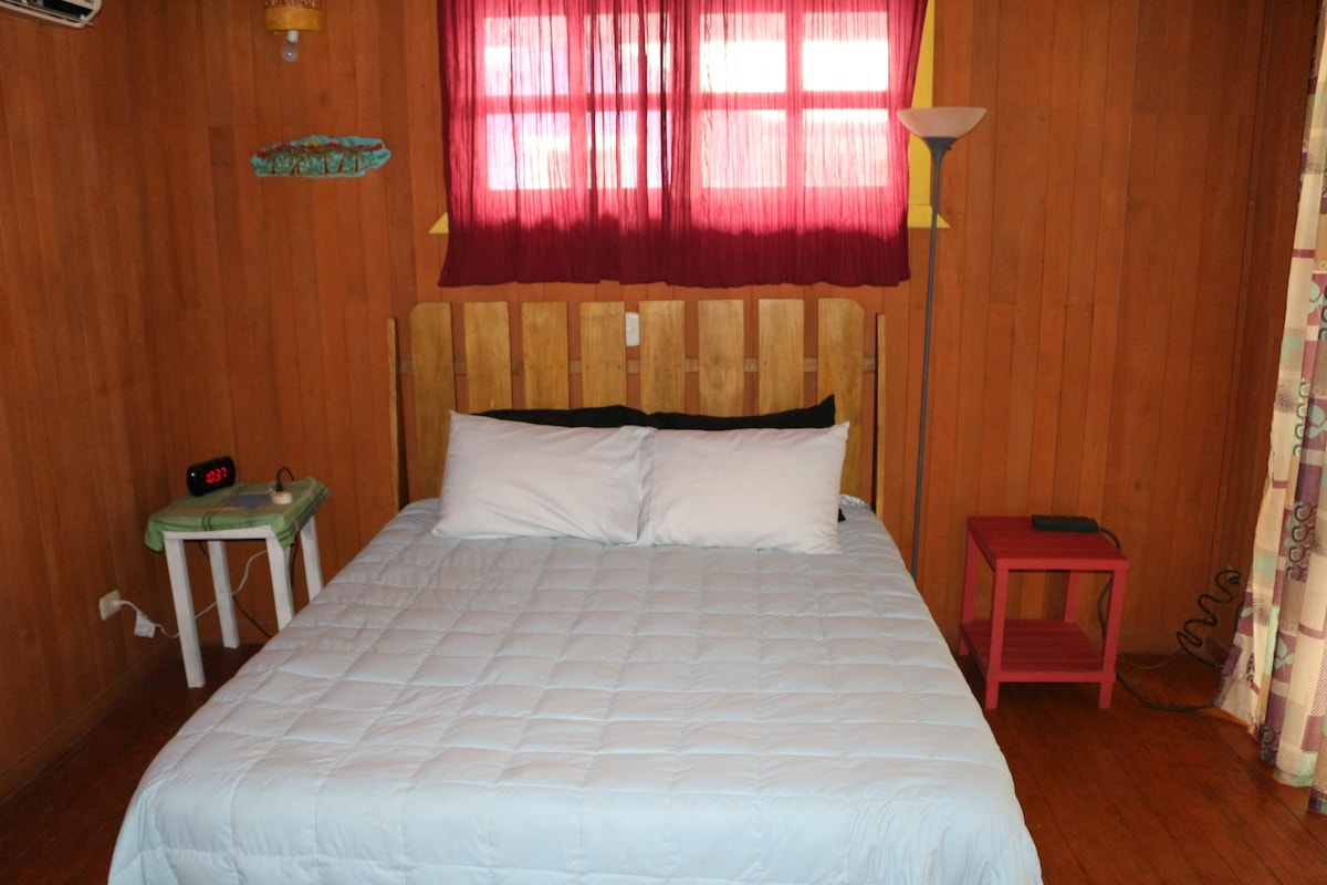 The queen bed upstairs.  There is a single bed in this room as well.  The A/C unit is in this room.