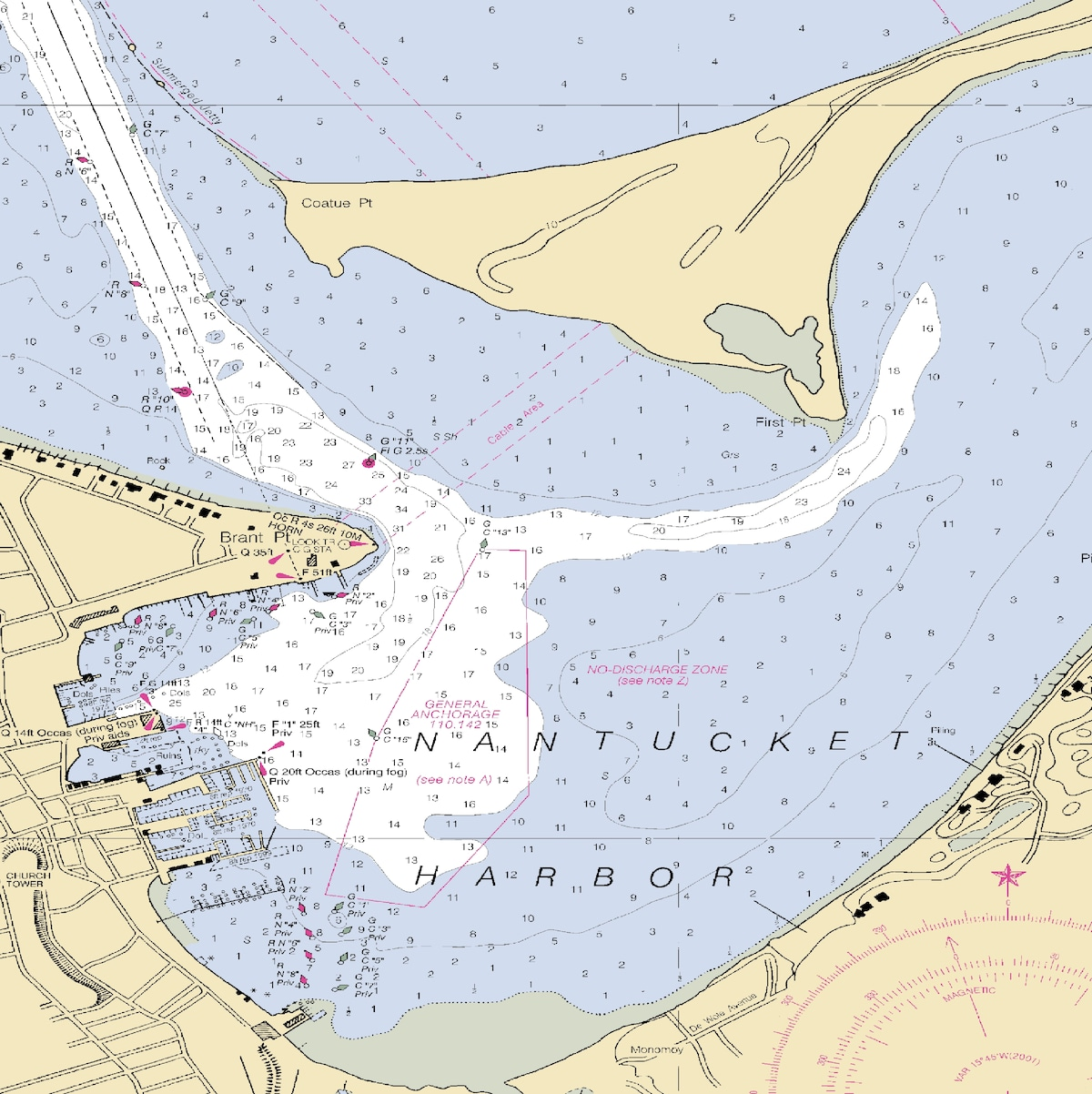 50' Sailboat in Nantucket Harbor