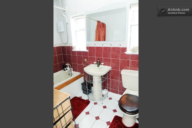 Guest bathroom ... Electric shower and music in-wall music for singing !!
