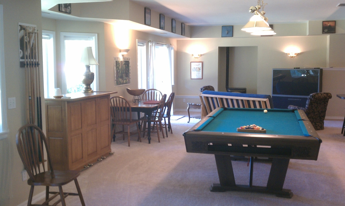 Big screen TV, pellet stove, bar, table and chairs