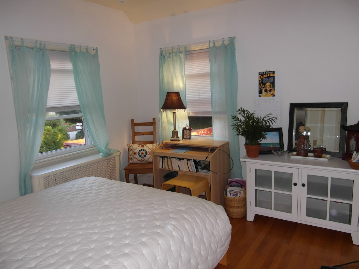Guest room is located on second floor across from guest bath. Photo taken autumn 2012.