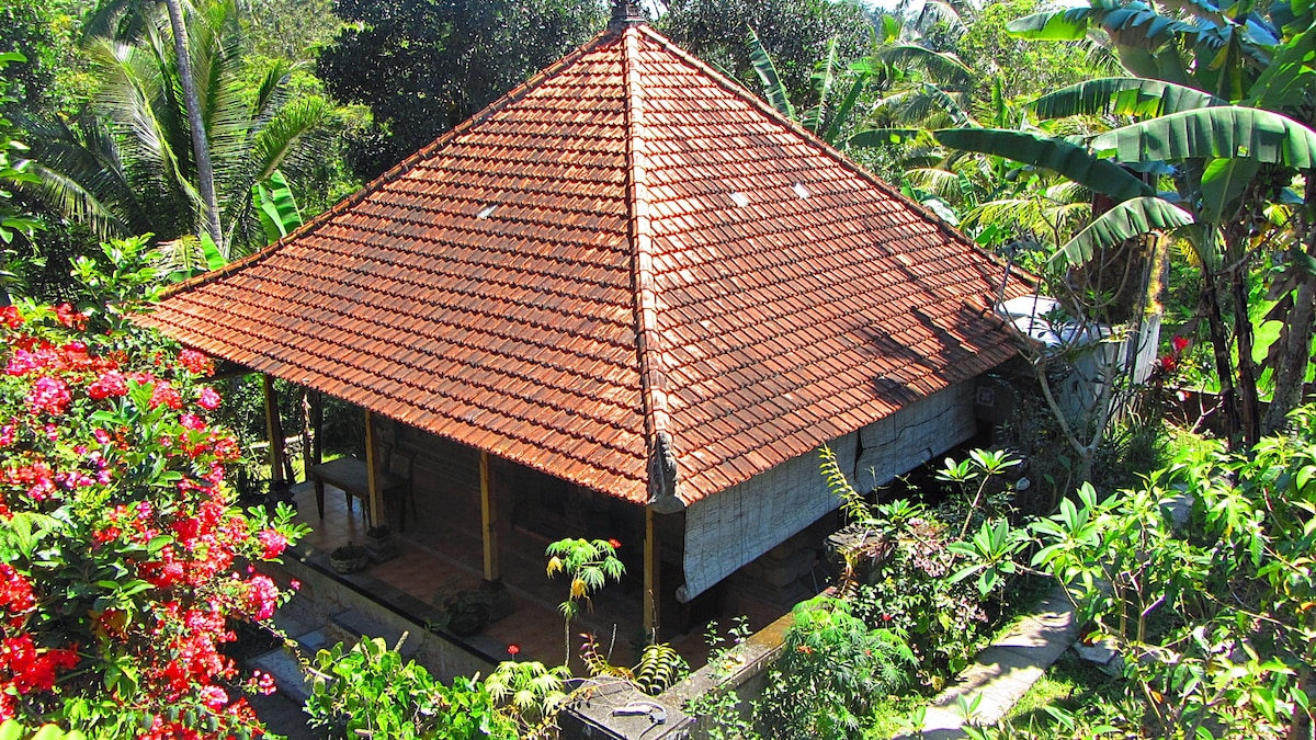 Nestled in a private spot beside river and jungle but within the traditional Balinese village only a 7 minute ride to Ubud town center. Beautiful location, quiet, and large natural garden.