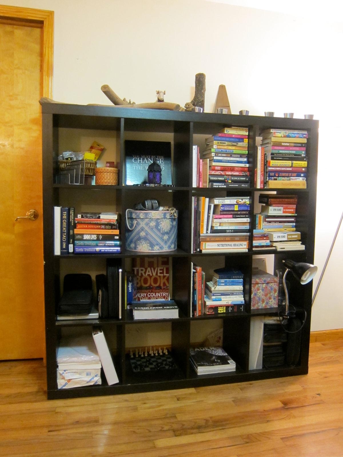 Our book shelf.