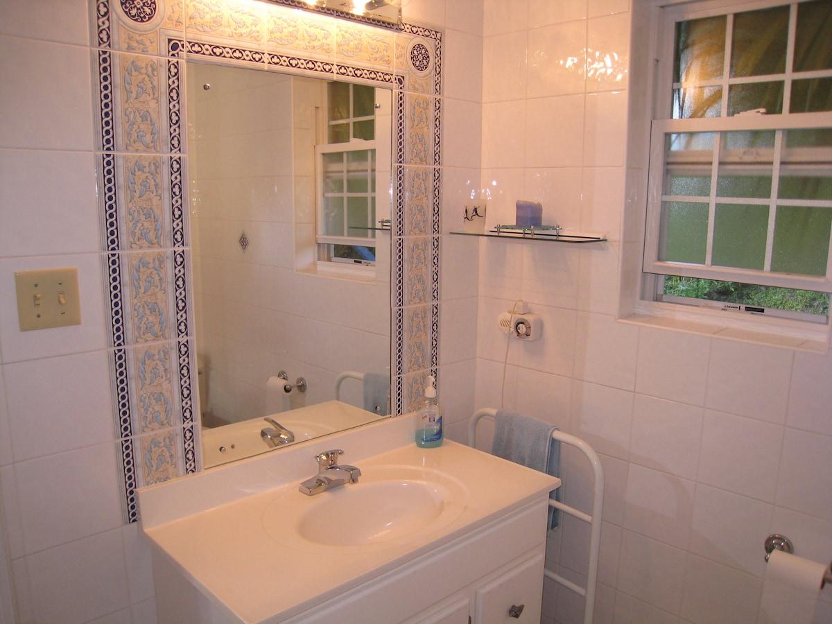 Pool Cottage Bathroom, vanity and heated towels