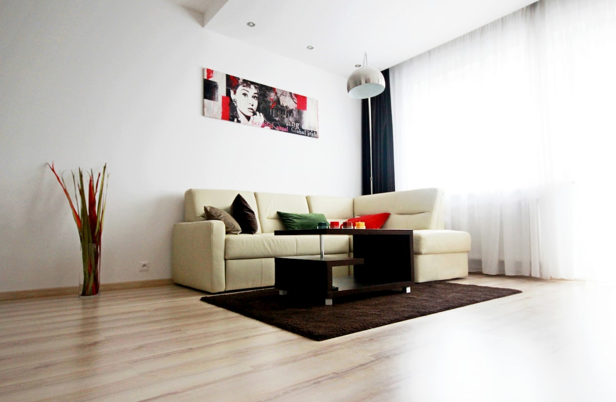 Living room with foldable sofa