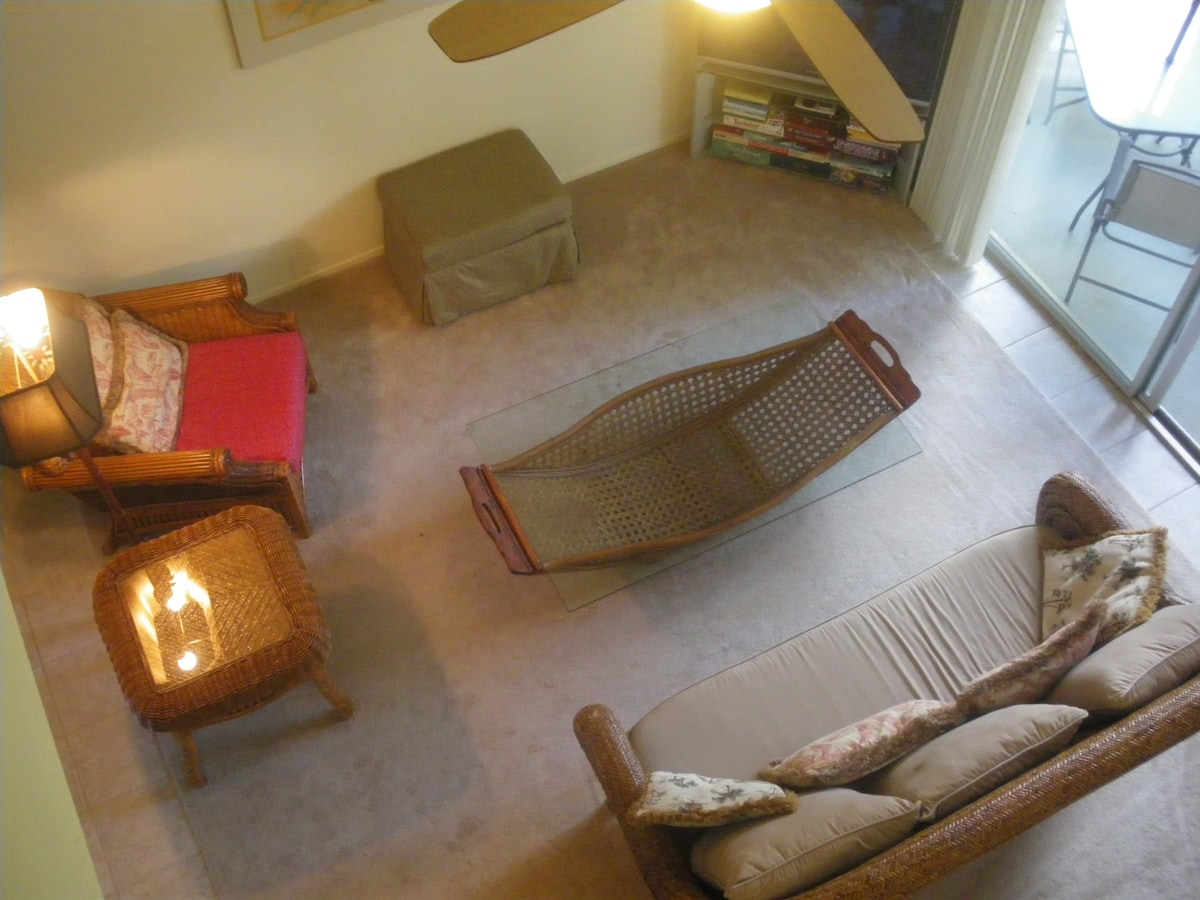 View of living room from upper level