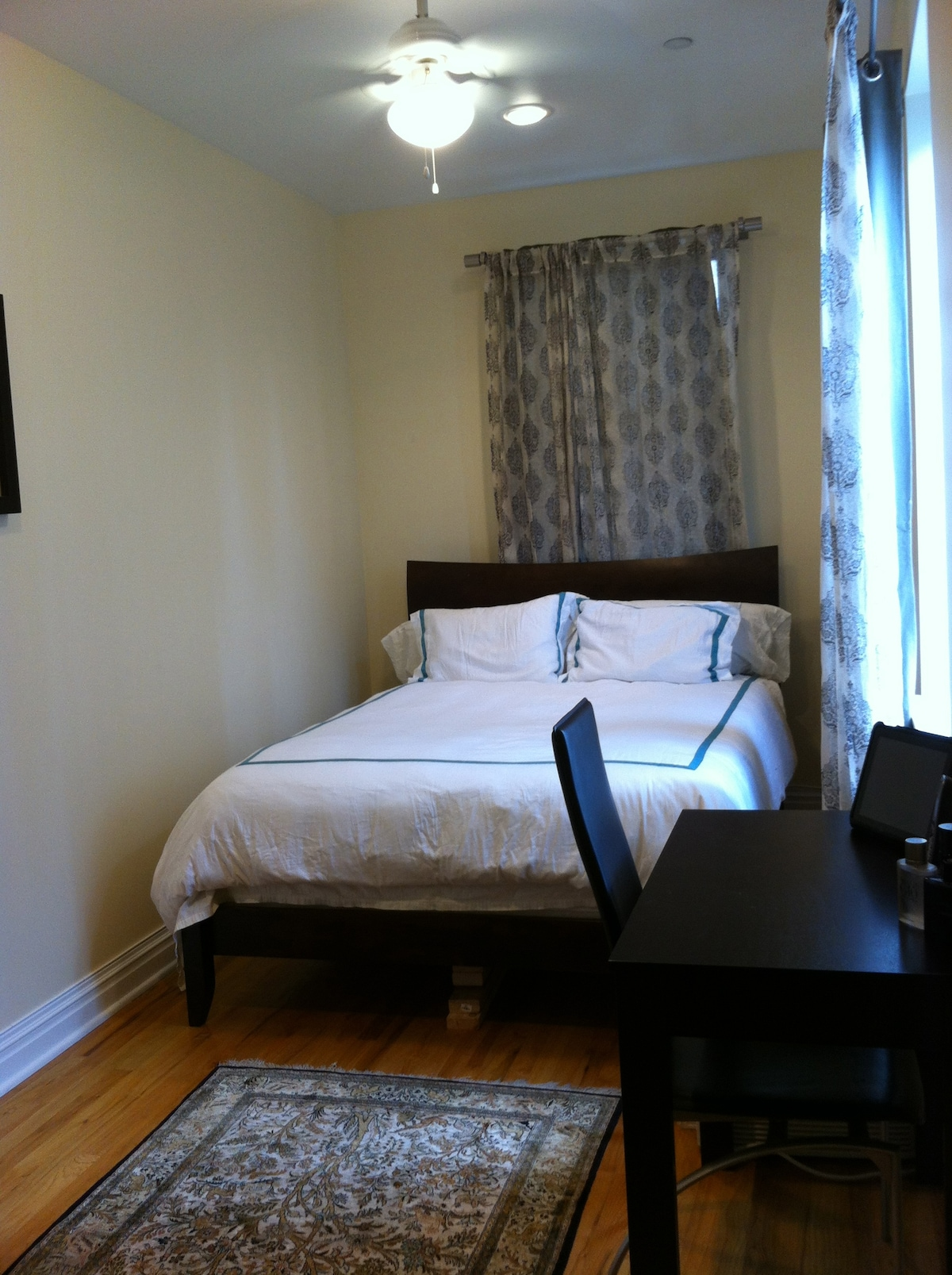 Bedroom, plenty of light, and nice view of the intersection of 72nd and Broadway.