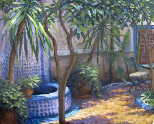 A detail of Dan's painting of the view of the courtyard from the Blue Room