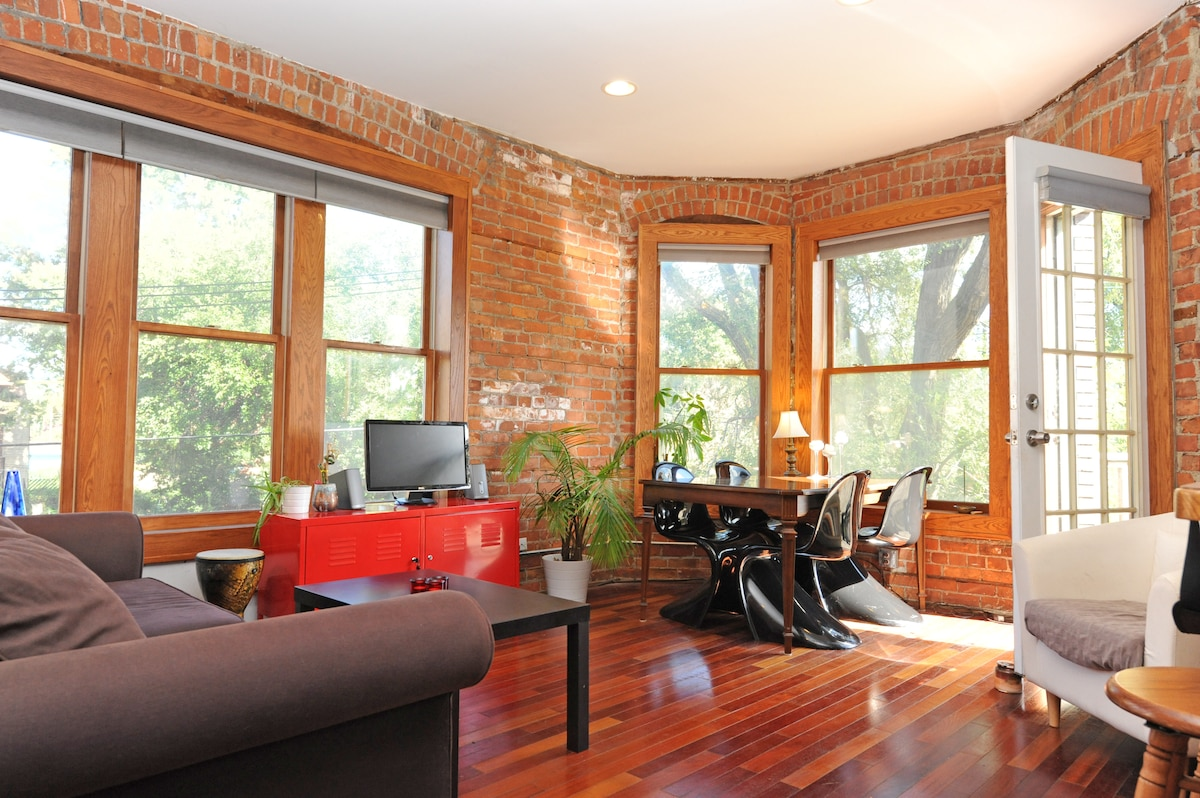 Our Detroit apartment is filled with light and has exposed brick and wood floors throughout