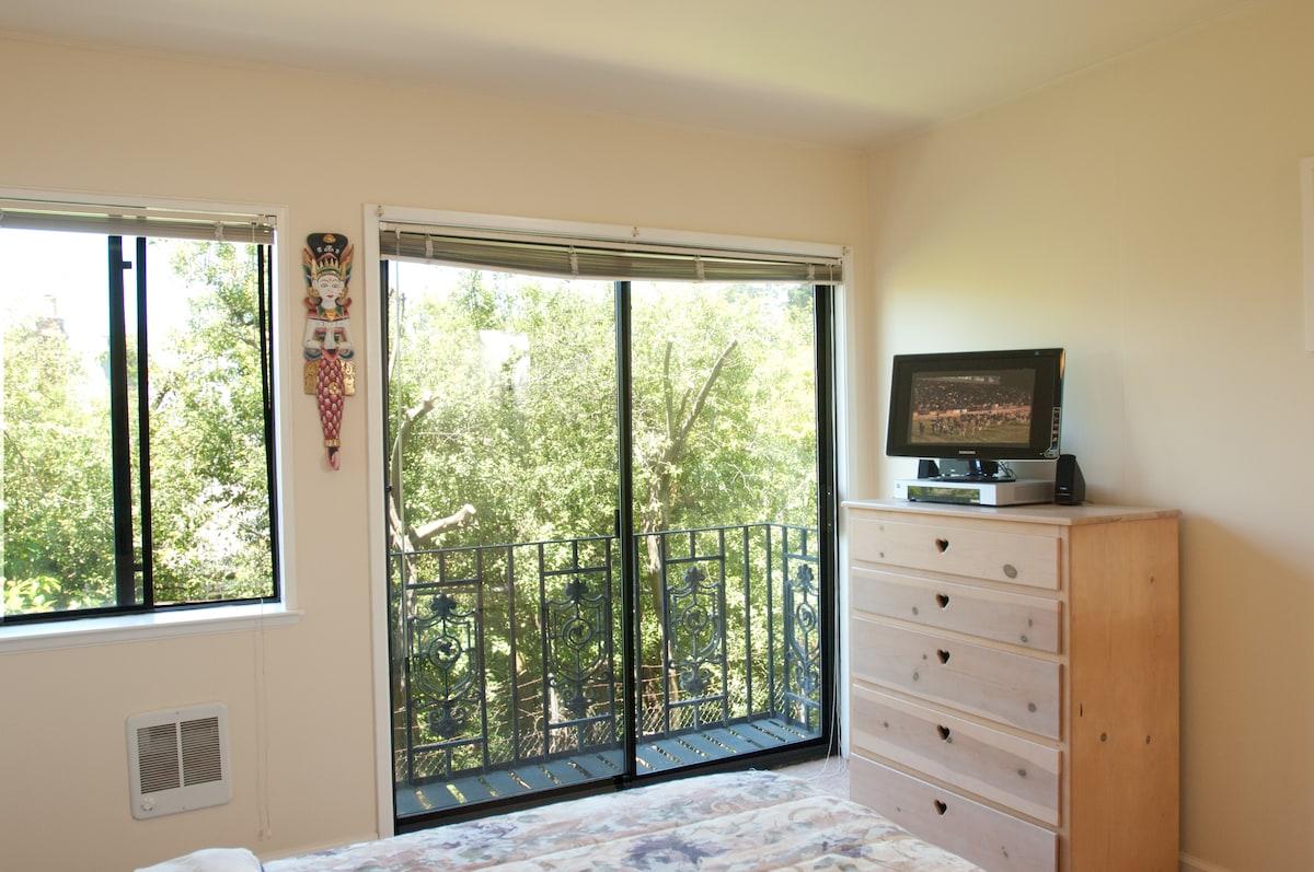 North view of bedroom, birch dresser & TV