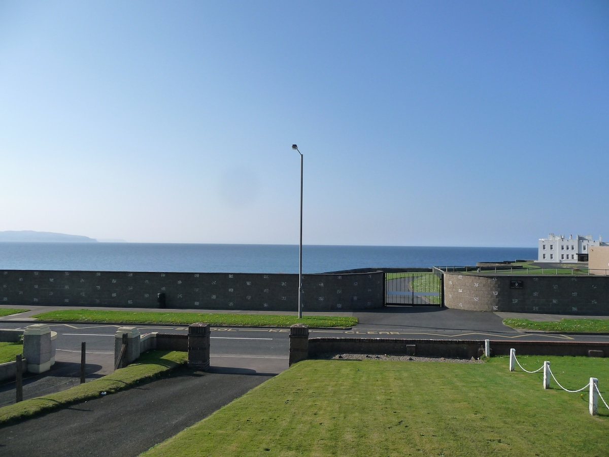 The view to the Atlantic Ocean, with Malin Head to the left, and the Dominican College to the right