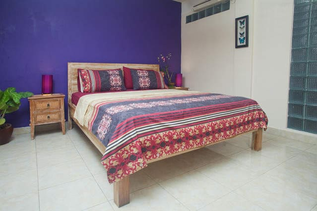 Air Conditioned Bedroom with Queen Size Bed, is very cosy room, with great mood lighting..