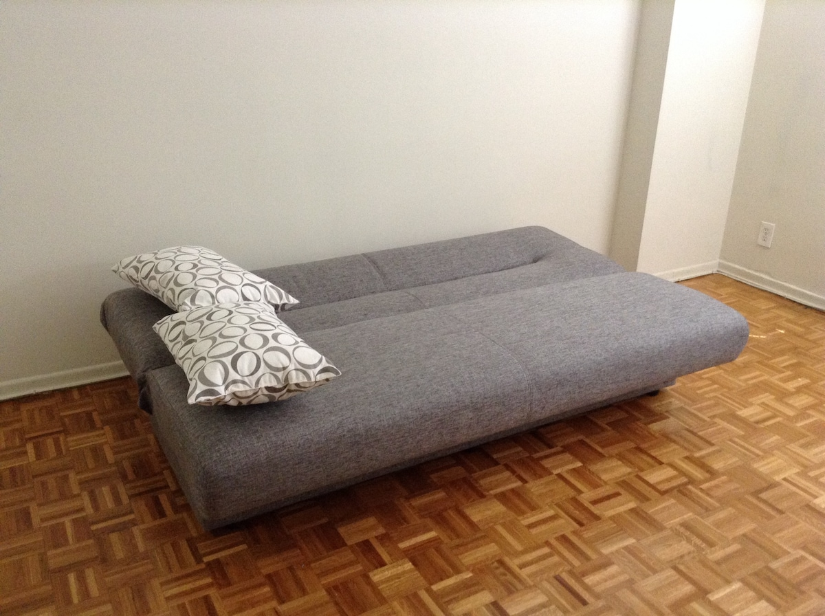 A couch in a shared apartment home!
