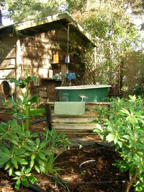 secluded outdoor clawfoot tub/shower