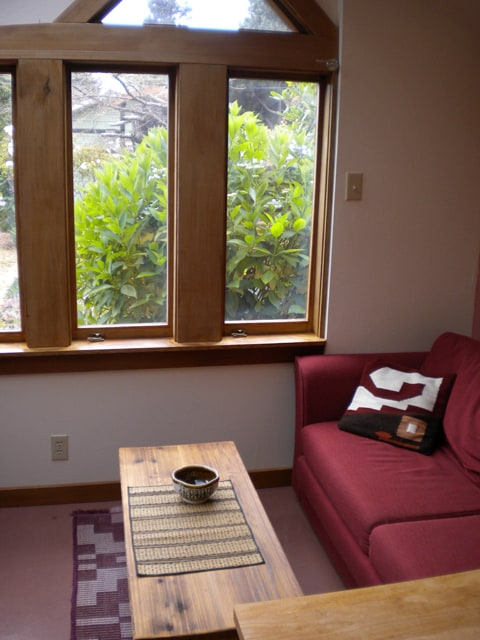 sitting area with garden view