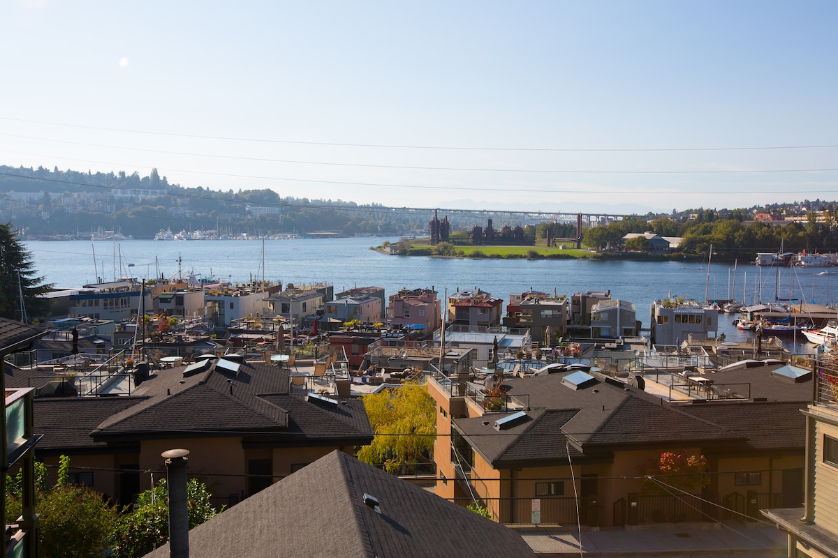 View onto Lake Union, Gasworks Park, the Olympic mountains and the houseboats.