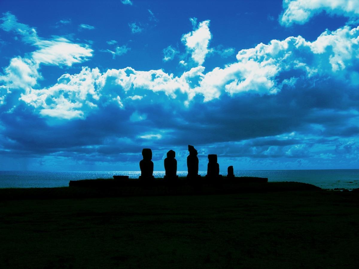 Residencial Tahai from Hanga Roa, Easter island, Isla de Pascua