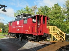The Caboose situated at the Castanea Railroad Stat