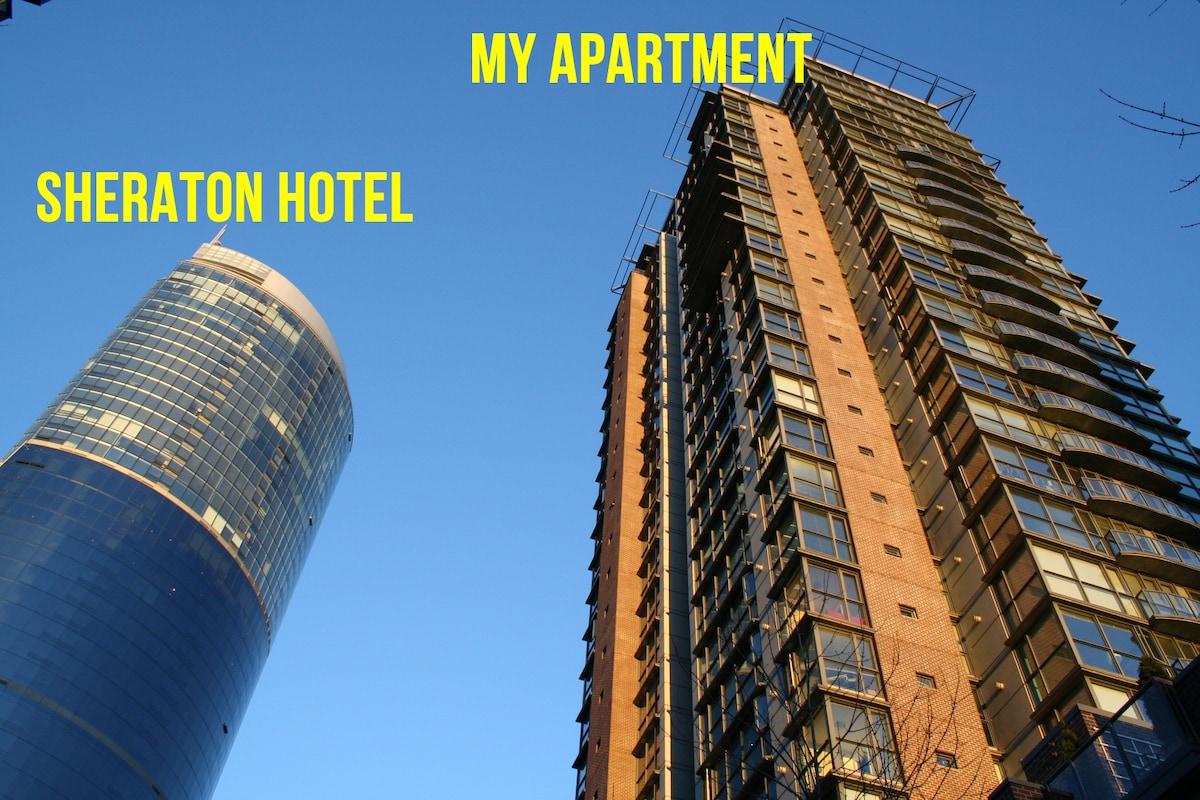 Right next to Sheraton Wall Centre Hotel.