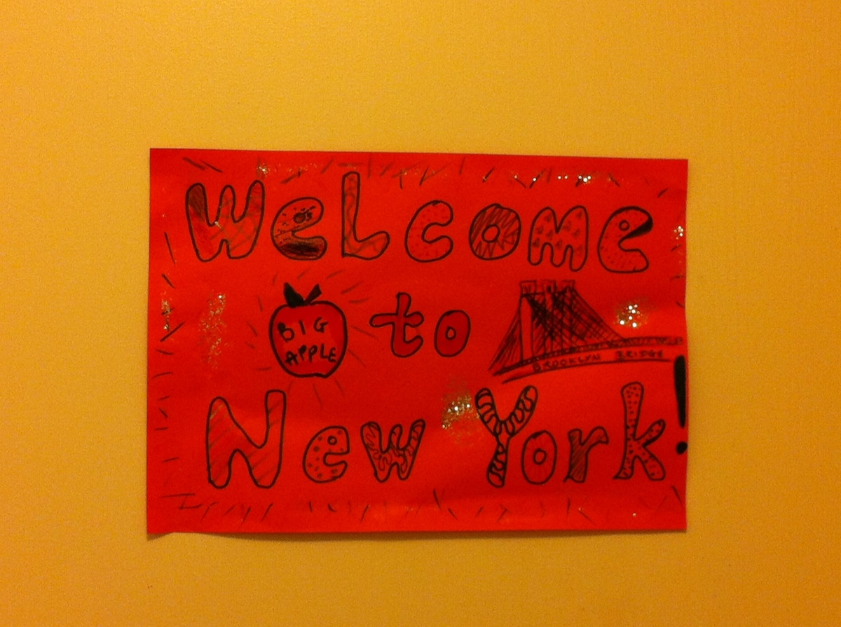 The door to your room, welcoming you to New York!