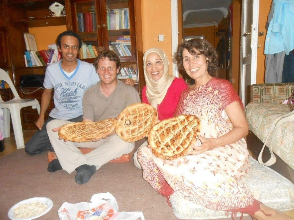 Invitation at my friend's home,Swez gust ,morocon nice gust,and my egyptian friend ( with turkish PIDA turkish diletious bread )