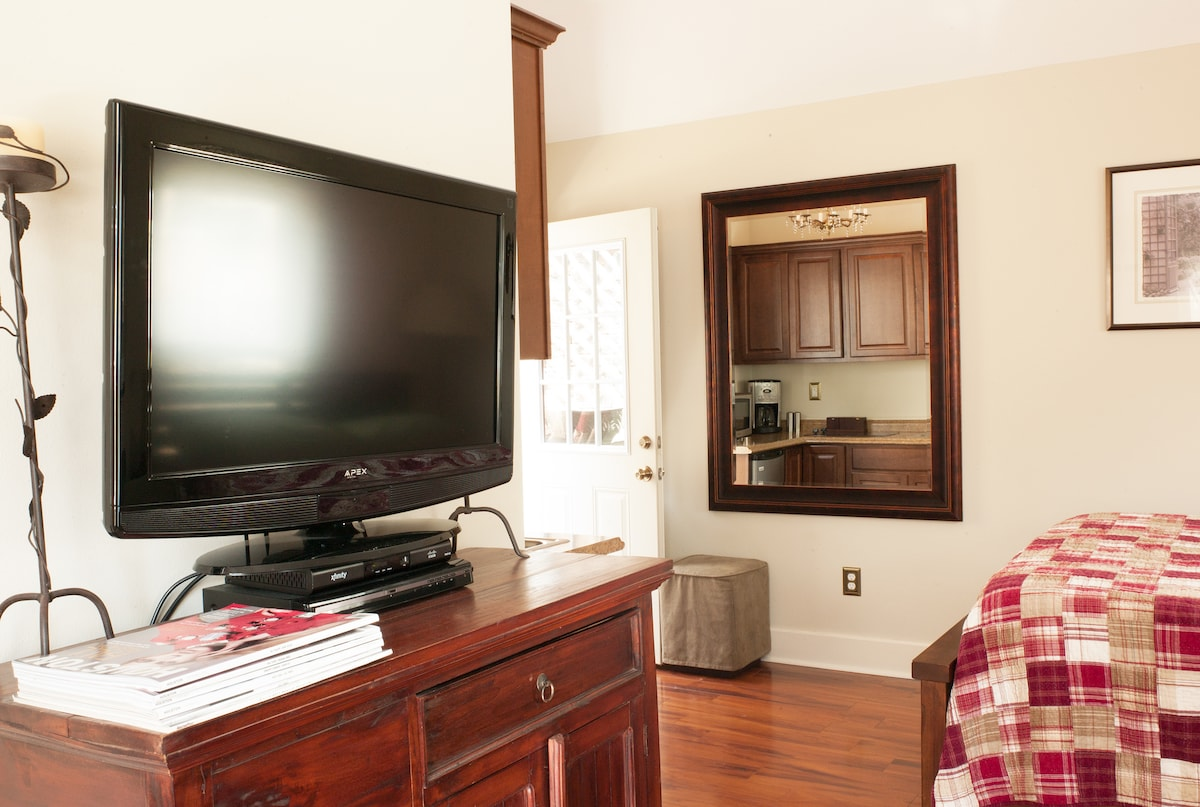 Flat screen TV, cable box, and DVD player. The tall wide mirror by the door is perfect for checking out your good looks.