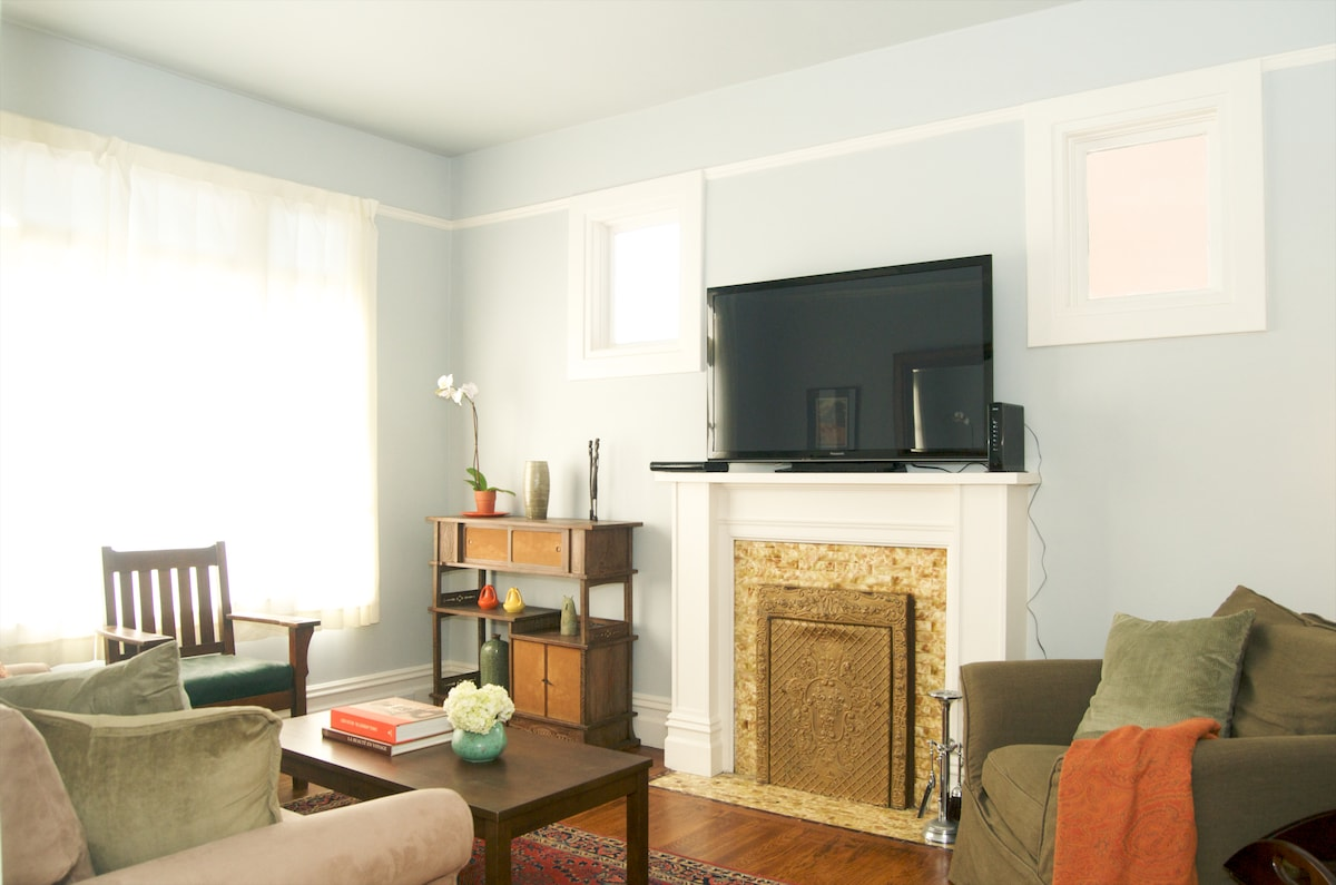 The flat combines modern conveniences with lovely original detail.