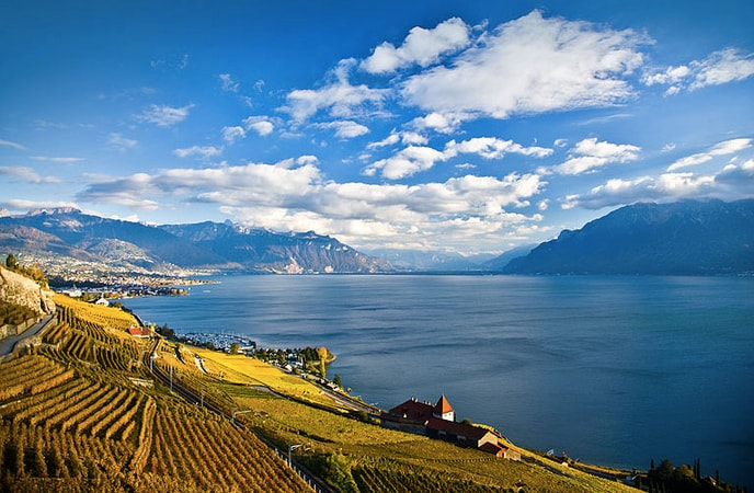 The Domaine du Burignon (down on the right) welcomes you in the heart of the vineyard of Lavaux, UNESCO World Heritage Site.
