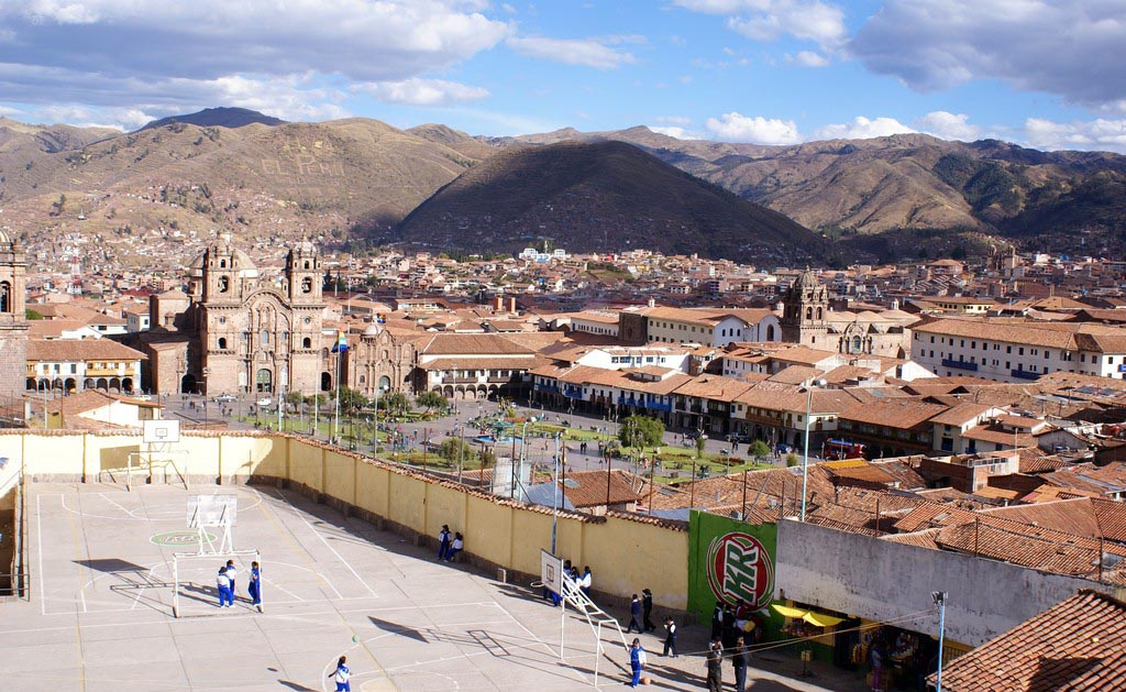 View from one of the two large bay windows facing the Plaza de Armas.