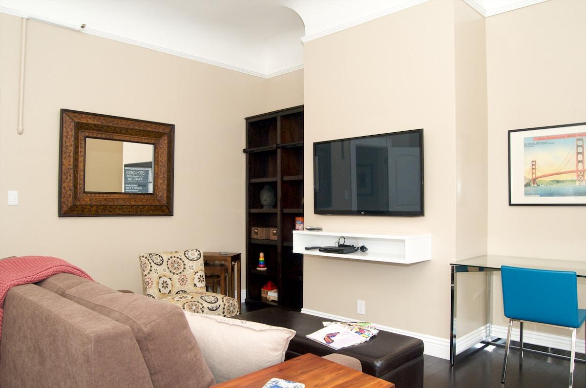 Living room easily converts to 2nd bedroom. Has door, closet, queen sofa sleeper, blinds on windows