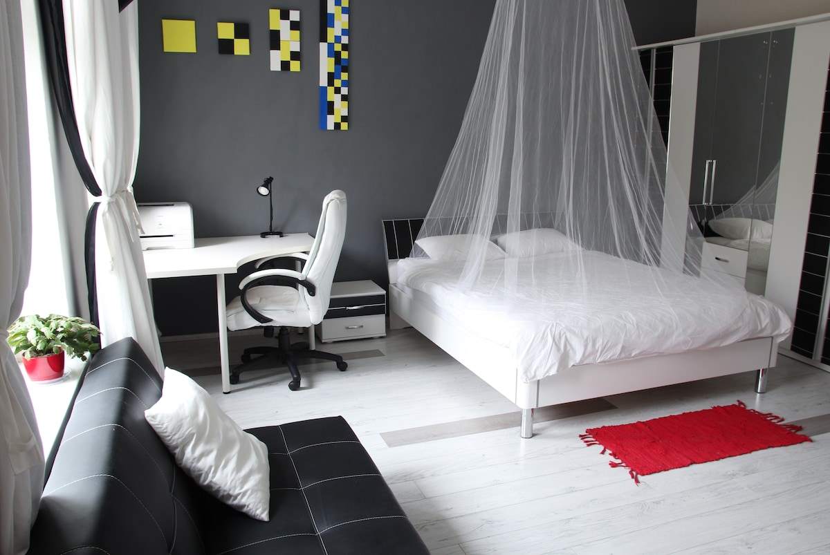 Double bedroom with sofa, wardrobe, bed with baldachin, artwork, and table with armchair