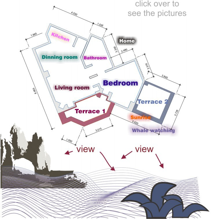 Plan of the condo, ocean view, whale watching we still looking for the sirens although you feel like heaven