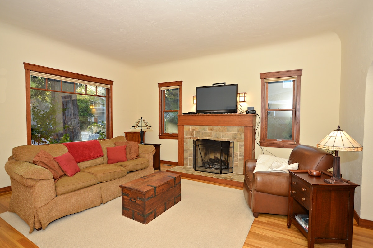 Living Room and Real Wood Burning Fireplace