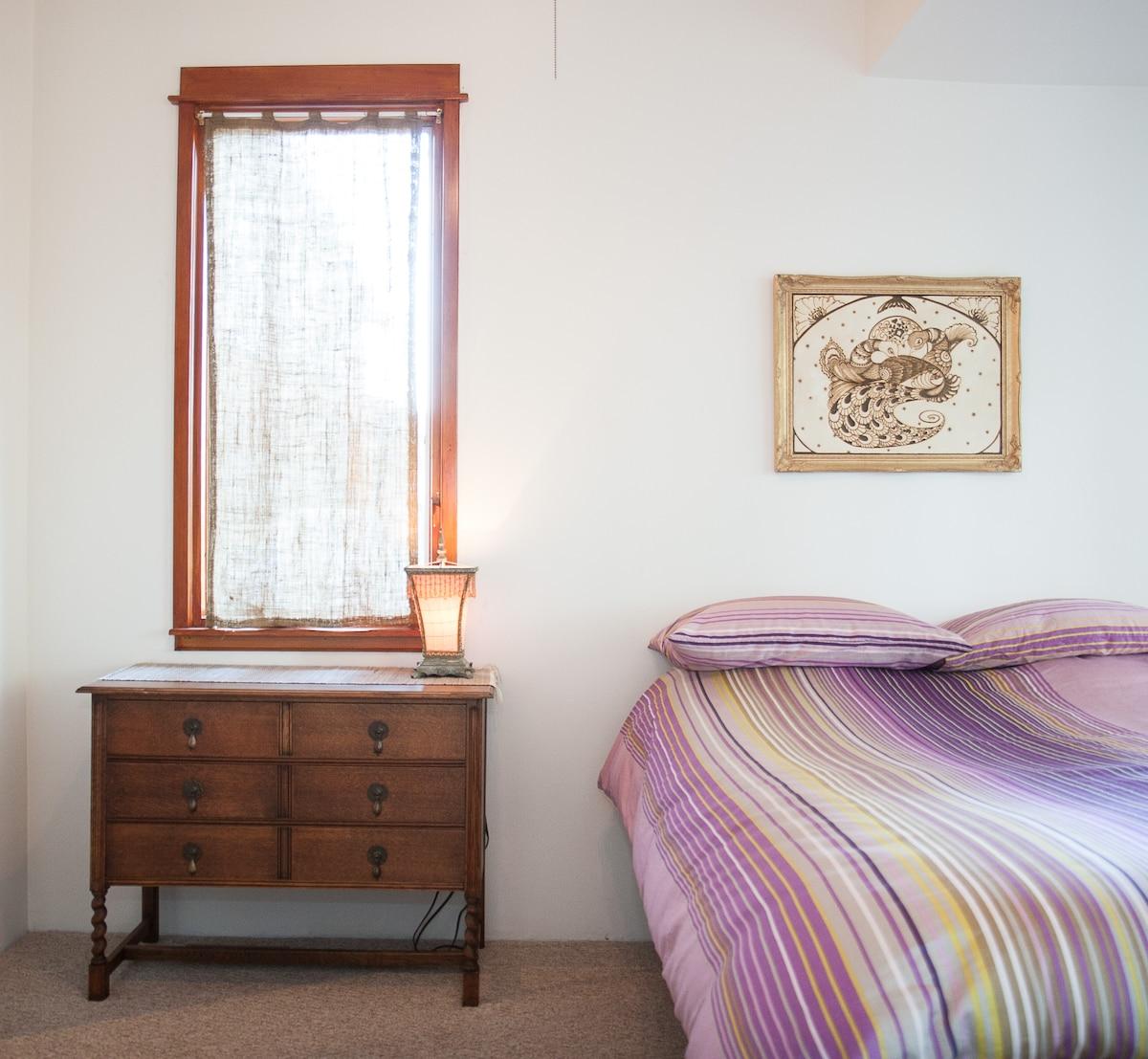 North window in the bedroom.