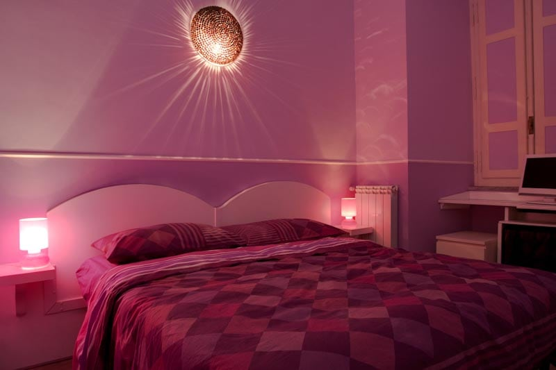 violet room double bed