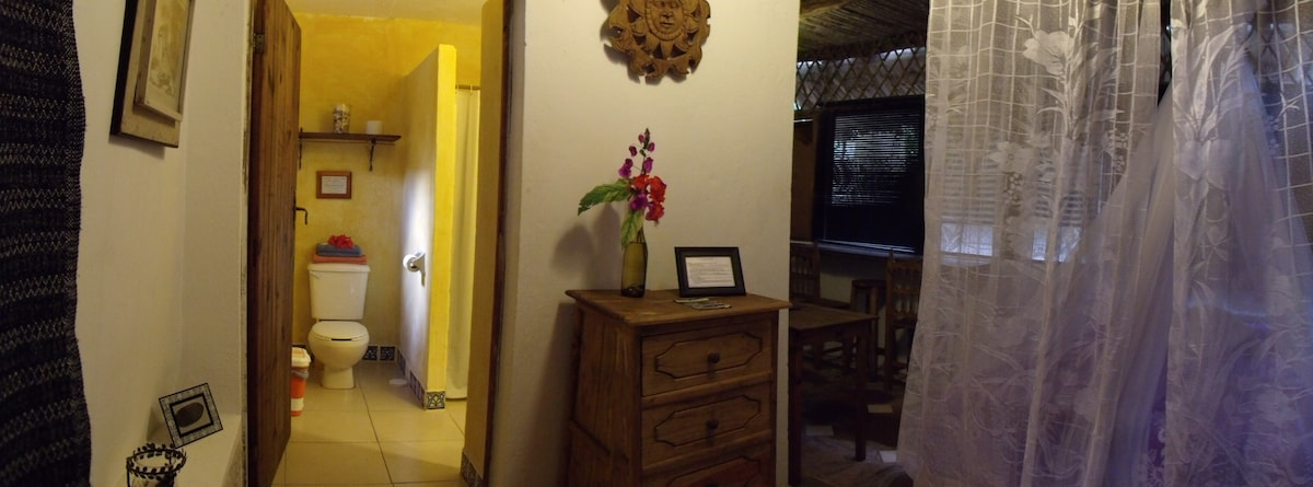 Casitas Kinsol Guesthouse in Puerto Morelos - near Cancun - Room #6 - on the first floor of a hut, with a kitchenette