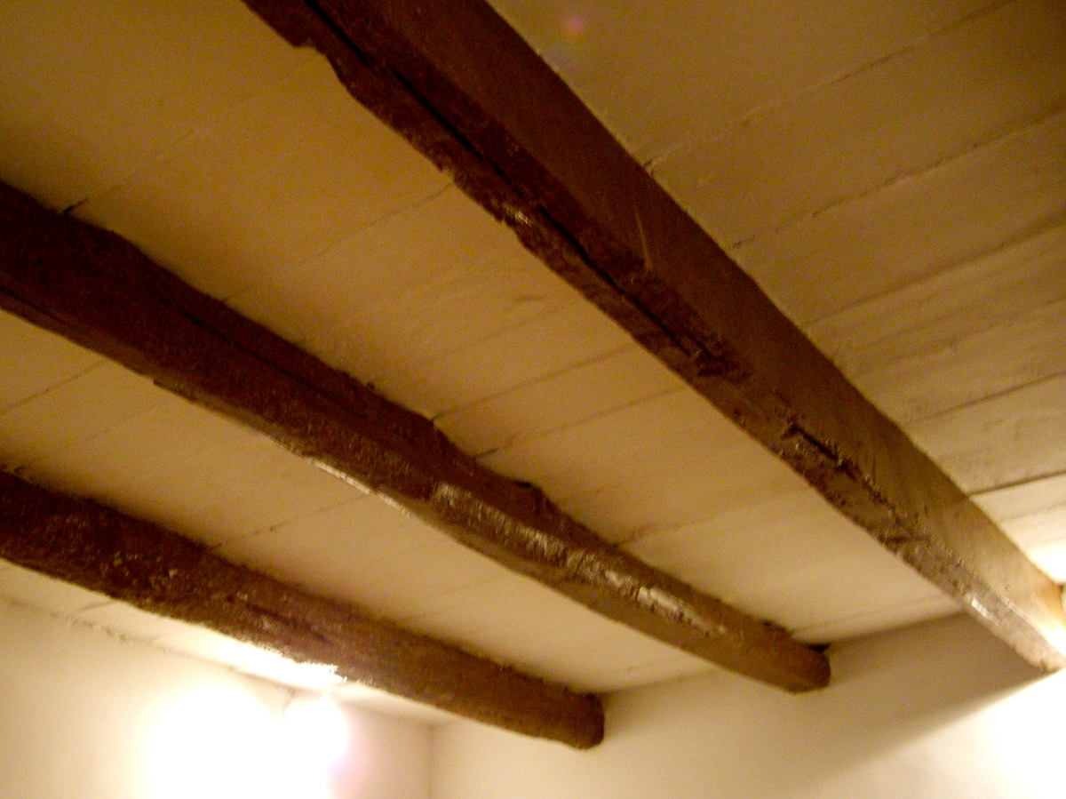 Wooden beams on the ceiling