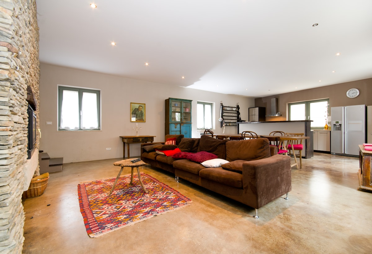 View from the lounge into the open plan kitchen.