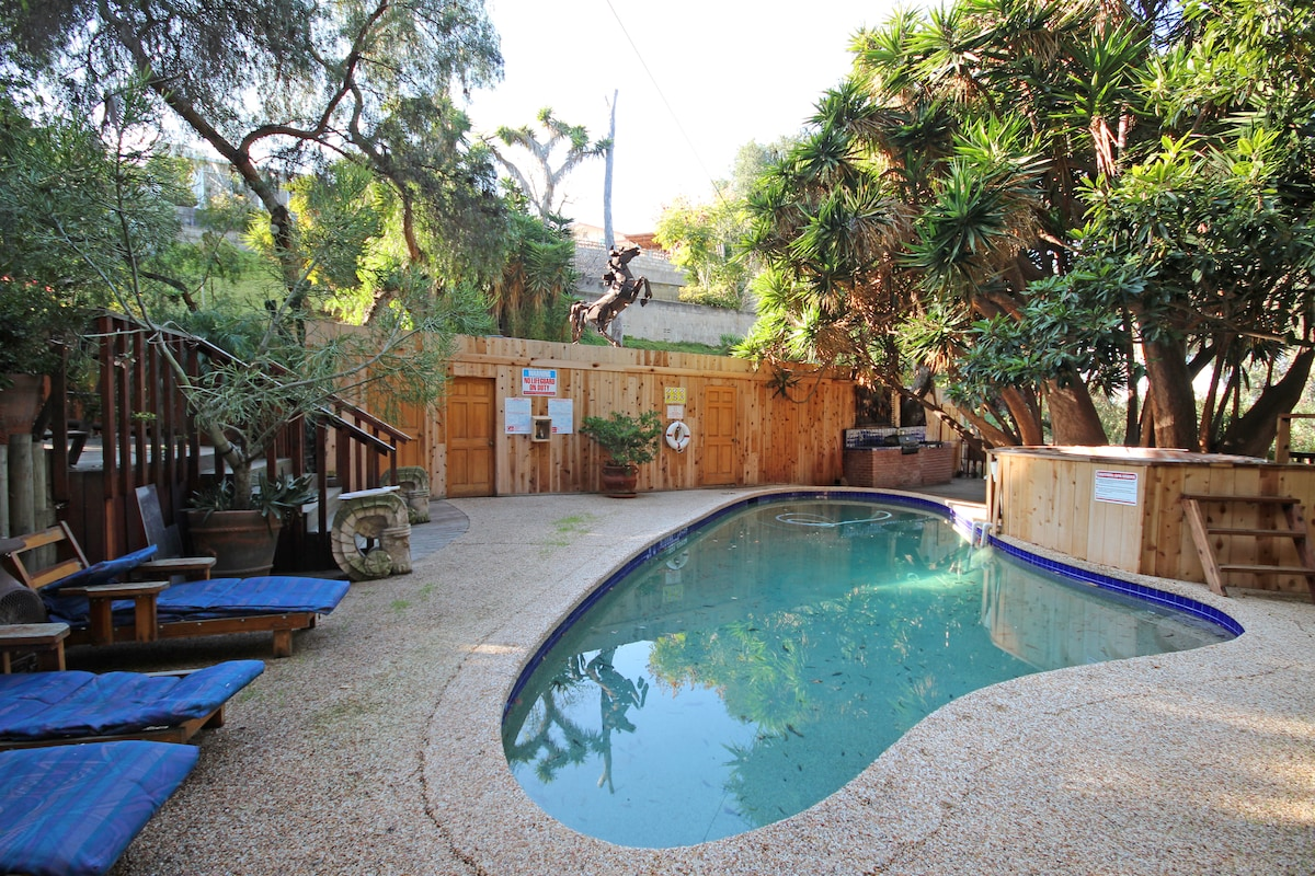 The solar heated swimming pool and gas heated hot tub are available for your use