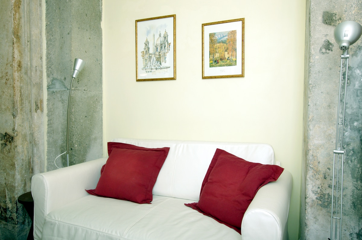 Divan-lit (2m de longueur et 1,40 m de largeur pour le lit lui-même) dans le salon