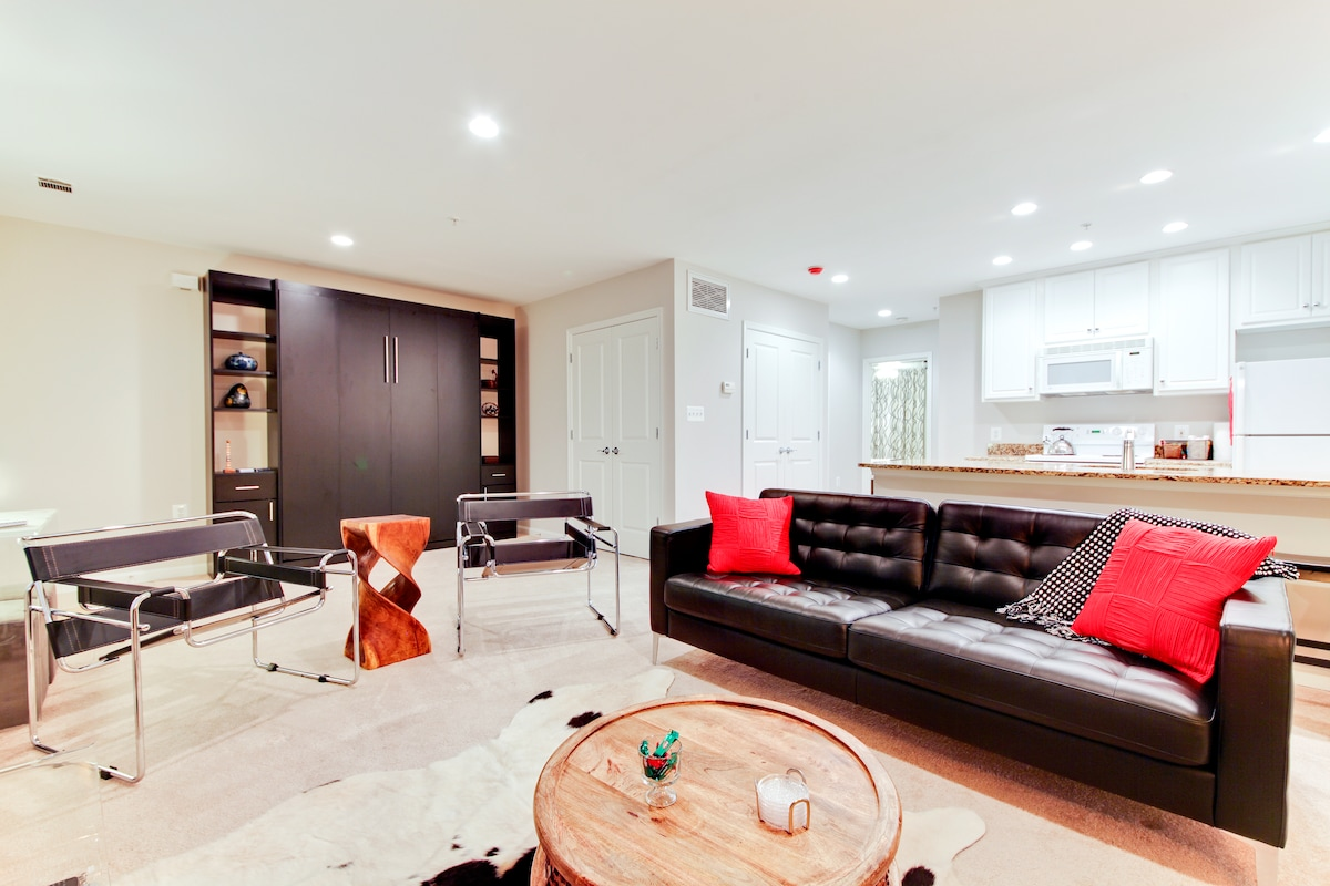 Modern apartment,  full kitchen, private bedroom + a separate queen Murphy bed. Sleeps 4!