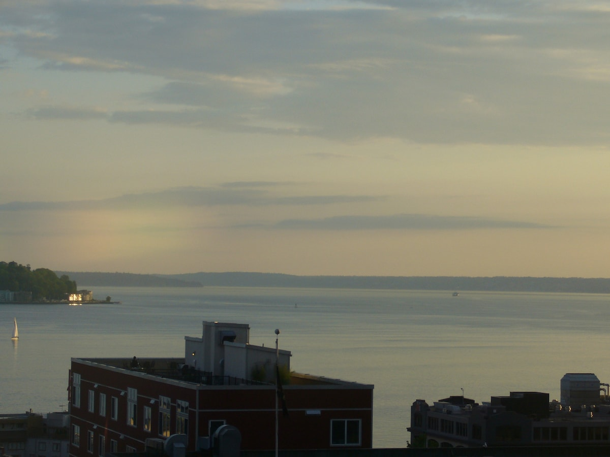 Our amazing view of the Sound, W. Seattle & Olympics!